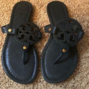Tory Burch Miller Flip Flops Sandals Size 7.5 Navy
